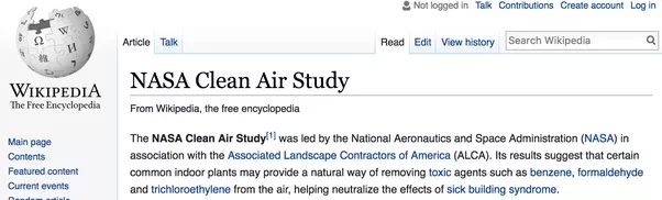 NASA clean air study on plants as method to filter and remove formaldehyde from air