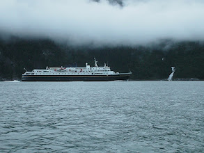 Photo: An Alaska Ferry heads southward down Taiya Inlet.
