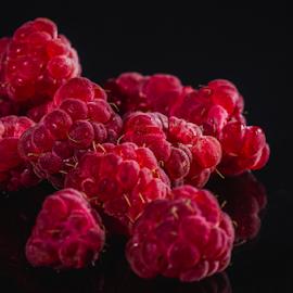 Raspberries by Marius Radu - Food & Drink Fruits & Vegetables ( red, fruits, dark, raspberries, food )