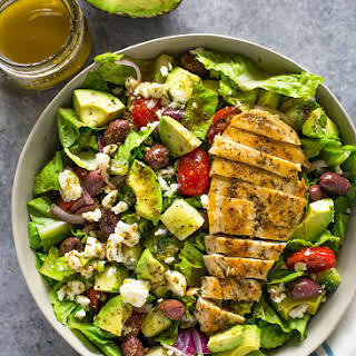 Greek Avocado & Grilled Chicken Salad with Greek Dressing.
