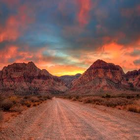 Sunset At Red Rock Canyon by Eddie Yerkish - Landscapes Sunsets & Sunrises