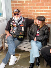 """Photo: There were a lot of bikers in town for the parade. I liked this guy's """"Jane Fonda American Traitor Bitch"""" patch."""