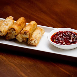 Pork and Ricotta Spring Rolls with Tomato Chilli Jam.