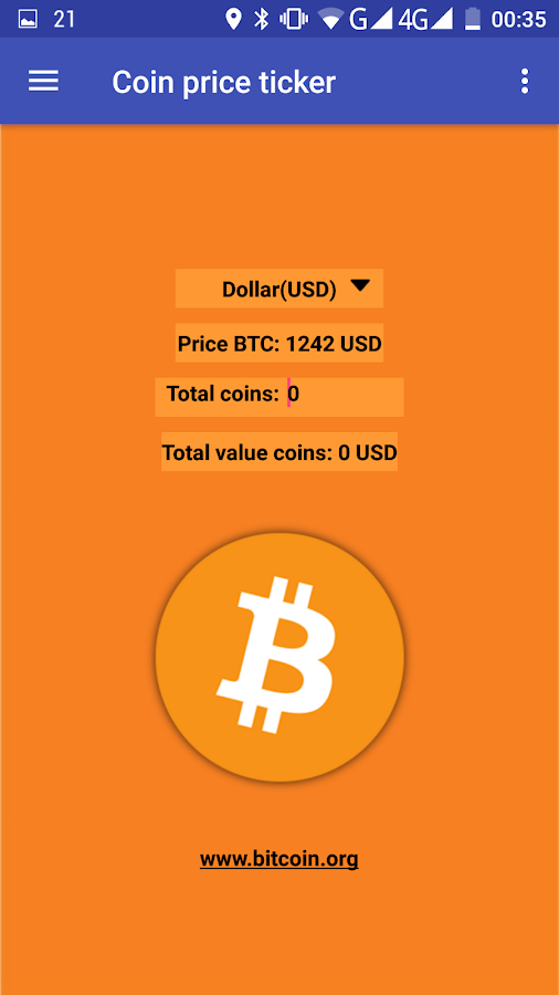 Coin price ticker- screenshot