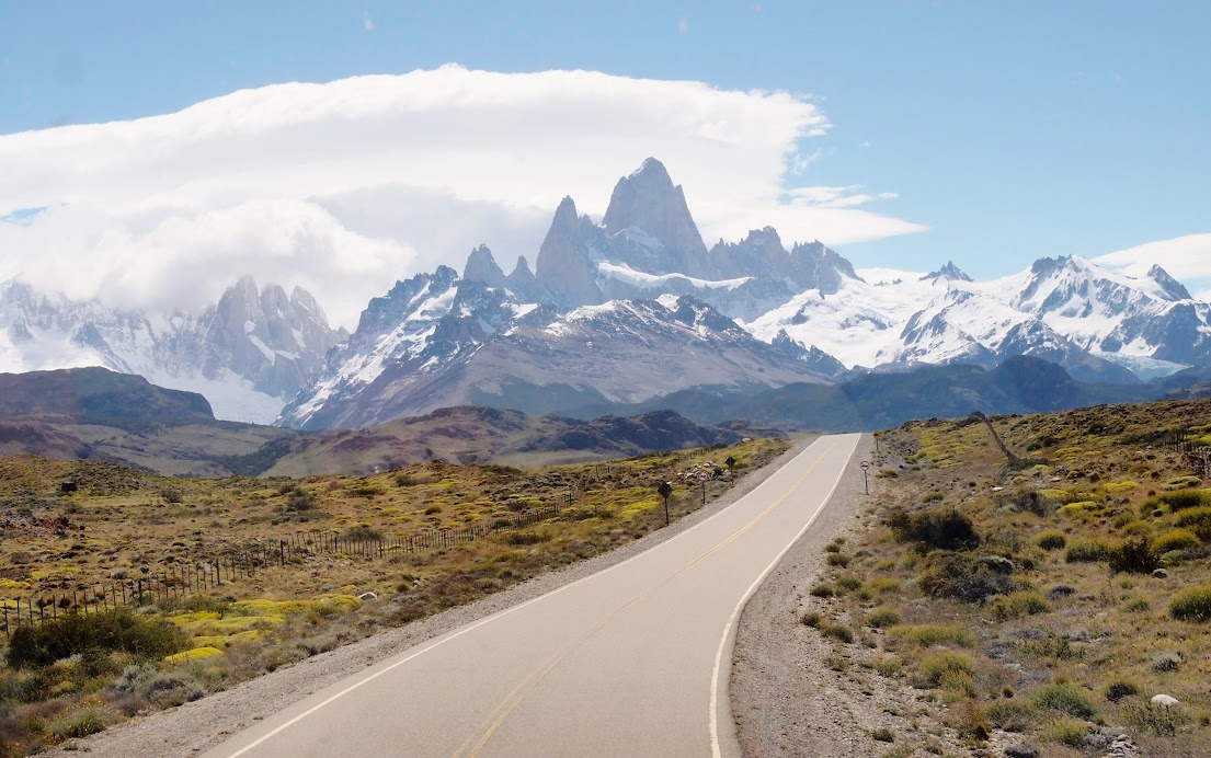 The Fitz Roy range, seen on the way to El Chalten