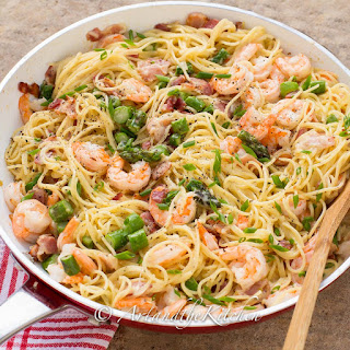 One Pan Shrimp Asparagus Carbonara