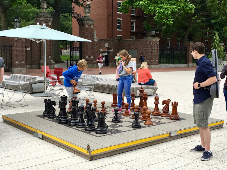 A chess match is afoot at the Harvard Sciences Quad.