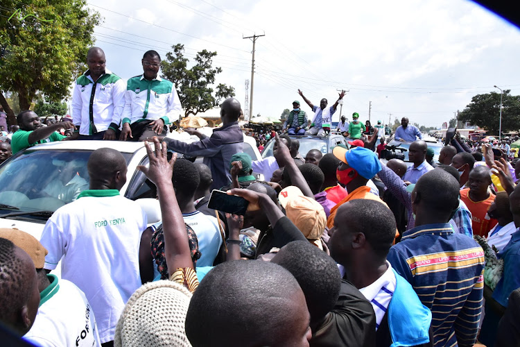 ANC and Ford K leaders Musalia Mudavadi and Moses Wetang'ula during campaigns for their candidates in the Matungu, Kabuchai by-elections on January 18, 2021