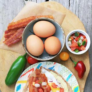 Egg, Hummus and Bacon Breakfast Tacos.
