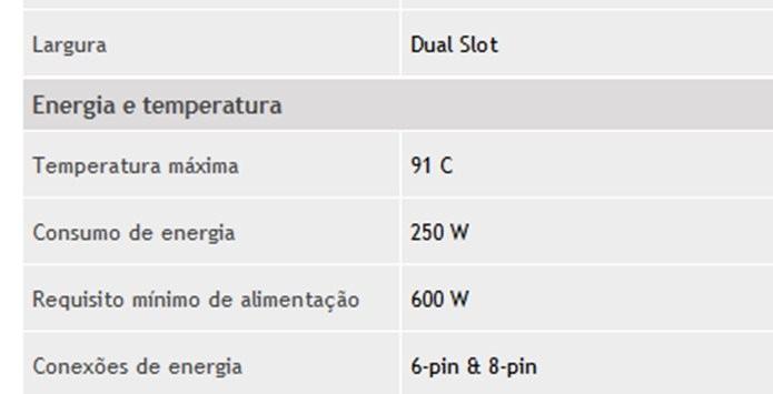 Visite o site do fabricante da placa de vídeo para ver as especificações de energia da mesma (Foto: Reprodução / Site Nvidia)