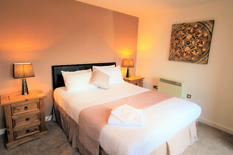 Luxury bedroom at Baltic Quays