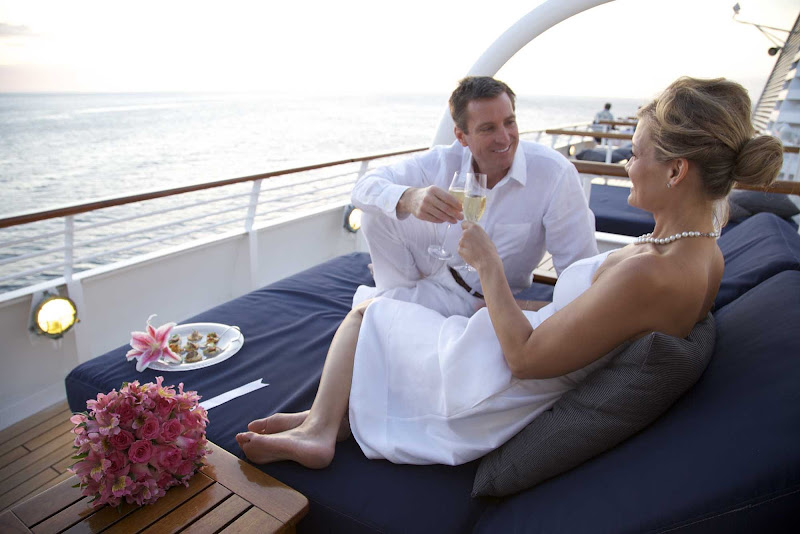 Toast to your partner, on a wedding voyage, honeymoon cruise or after a renewal of vows, on SeaDream.