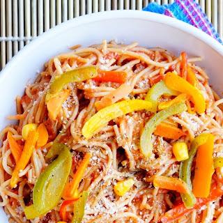How to make Spaghetti Tomato Basil Veggie Pasta.