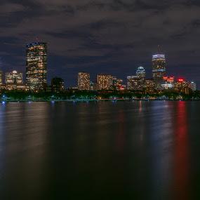 Boston From the Longfellow Bridge by Paul Gibson - City,  Street & Park  Skylines ( reflection, skyline, boston, waterscape, long exposure )
