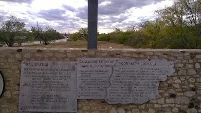 Photo: Comanche Lookout signage 11/29/14 Long. -98.37 Lat. 29.58