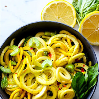 Basil and Mint Yellow Squash Spiralized Salad {Paleo, Vegan}