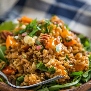Warm Farro Salad with Roasted Squash, Persimmons & Pecans