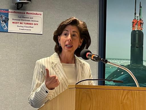 Two cabinet secretaries tour Electric Boat to promote Biden jobs plan
