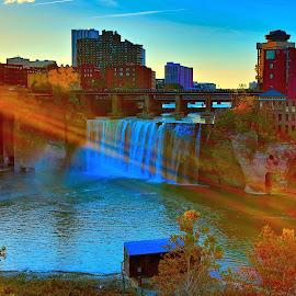 High Falls Sunrise by Cal Brown - Landscapes Waterscapes ( water, fall colors, waterscape, waterfall, cityscape, new york, sunrise, city park, genesee, landscape, river, golden hour )