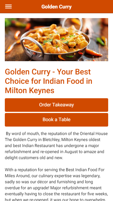 Golden Curry Indian Restaurant in Milton Keynes- screenshot