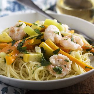 Grilled Shrimp Scampi With Mixed Vegetables.