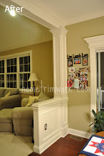 Photo: (After) Breakfast room half wall with pillar, wainscot, and beam with crown on top Friend job