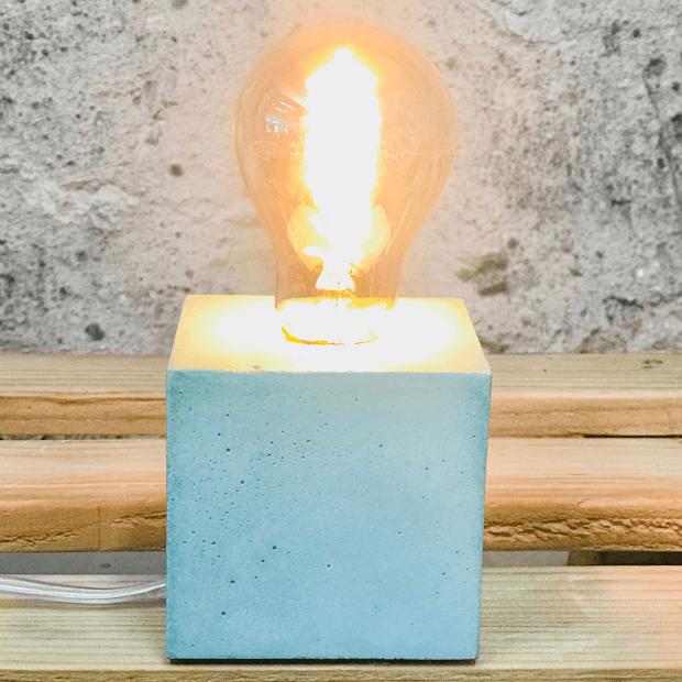 Lampe cube béton vert d'eau