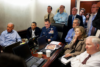 Photo: WASHINGTON, DC - MAY 1:  (EDITORS NOTE: Please be advised that a classified document visible in this photo was obscured by The White House) In this handout image provided by The White House, President Barack Obama, Vice President Joe Biden, Secretary of State Hillary Clinton and members of the national security team receive an update on the mission against Osama bin Laden in the Situation Room of the White House May 1, 2011 in Washington, DC. Obama later announced that the United States had killed Bin Laden in an operation led by U.S. Special Forces at a compound in Abbottabad, Pakistan.  (Photo by Pete Souza/The White House via Getty Images) *** Local Caption *** Hillary Clinton;Joe Biden;