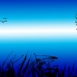 Environment in Blue by Ferdinand Bernales - Illustration Flowers & Nature ( grasses, blue sky, environment, blue, trees, silhouettes, meadows, horizons, landscape, birds )
