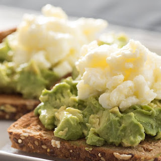 Egg White Scramble on Whole Grain Avocado Toast.