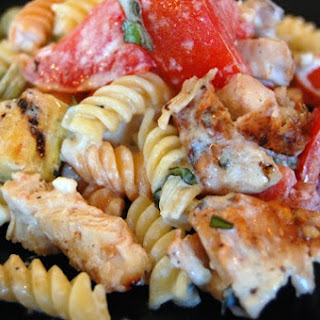 Garden Rotini with Grilled Zucchini and Chicken.