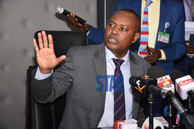 DCI George Kinoti explaining how Kenei's murder was carried out at DCI headquarters on March 5, 2020.
