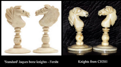 Photo: Comparison knights in CH381 with the 'Jaques standard' bone knights.  Whilst there are superficial similarities, especially a form of 'flame' mane, there are too many differences for them to be regarded as conforming to the Jaques 'norm'.