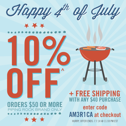 Photo: Red, white & SAVE! Our hot-off-the-grill 4th of July sale starts TODAY!  Take 10% OFF your order of $50 or more when you enter the code AM3R1CA during checkout (Piping Rock brand only)! PLUS get free shipping* on your order of $40 or more!  Hurry! This offer ends 7/7 at 11:59 PM EST! bit.ly/VhSp1R  #pipingrock #4thofjuly #sale #4thofjulysale #coupons #deals #vitamins #supplements #essentialoils #naturalproducts