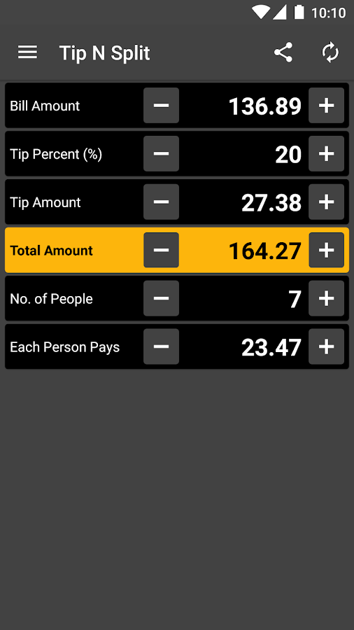 Tip N Split Tip Calculator- screenshot