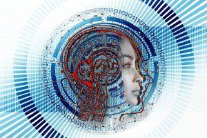 Visualization of AI neurological process through a transparent human's head profile