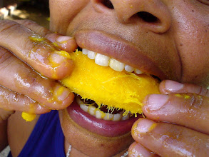 Photo: woman eating mango. Tracey Eaton photo