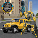 Gold Robot Car Transforme Futuristic Supercar icon