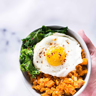 Sweet Potato and Lentil Hash with Garlic Sauteed Kale Recipe