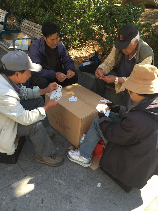 The locals playing a game of cards.