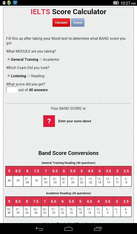 IELTS Score Calculator- screenshot