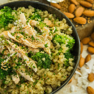Coconut Cauliflower Rice with Sweet Coconut Chicken and Broccoli.