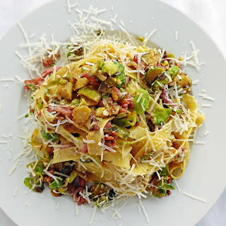 Brussel Sprout Carbonara with Fettuccini.