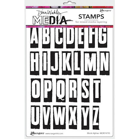 Dina Wakley Media Cling Stamps 6X9 - Block Alphas
