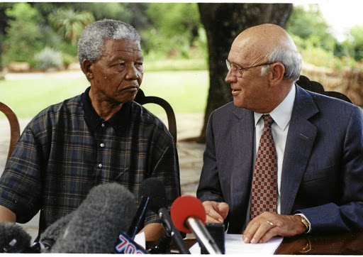 Covert: Nelson Mandela and FW de Klerk. De Klerk chaired an NP meeting about corporate funds. Picture: SUNDAY TIMES