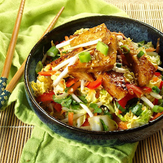 Sweet and Sour Slaw with Sticky Ginger Tofu.