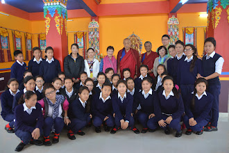 Photo: Bon girls from the surrounding Bon village came to the Grand Opening of the Sowa Rigpa Medical Institute. The girls are the future Tibetan physicians or health care workers of the Sowa Rigpa Medical Institute.