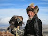 Mongolia. Golden Eagle Festival Olgii. One of the most senior hunters of the Golden Eagle Festival