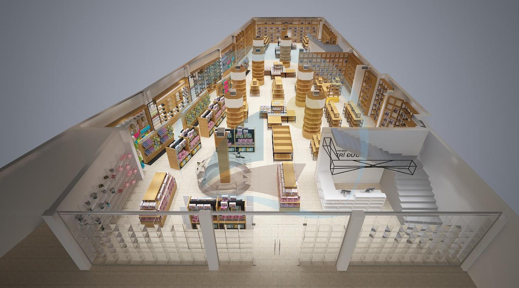thiết kế nội thất nhà sách Trí Đức 1