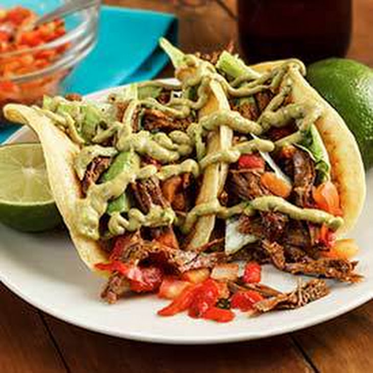 Slow-Cooked Spicy Shredded Beef Tacos Recept | Yummly